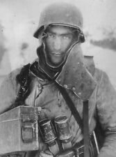 WWII B&W Photo German Soldier with Hand Grenades Eastern Front  WW2  / 2304