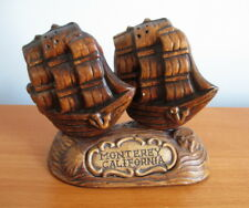 Treasure Craft Salt Pepper Shakers + Stand Sailing Ship Monterey California USA