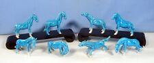Vintage Swatow Chinese turquoise porcelain horses set of 8 circa 1930s unused