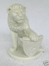 "RARE White MEISSEN Lion Figurine w/ Scottish Rampant Lion Shield -Mint - 7"" Tall"