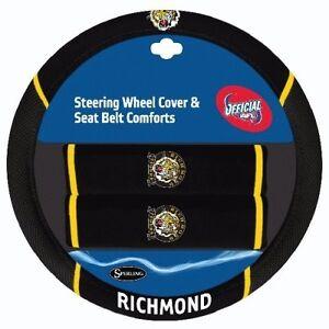 84698 RICHMOND TIGERS AFL CAR STEERING WHEEL COVER & SEAT BELT COMFORT PAD