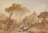 1862 Watercolour - Figures Outside a Cottage