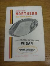 22/10/1978 Rugby League Programme: Bradford Northern v Wigan  (Folded). Conditio