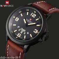 Montre Naviforce Neuve Militaire Homme Bracelet Cuir Date US ARMY PROMO TOP VENT