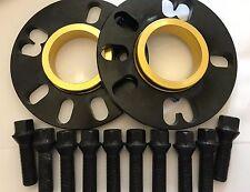 2 X 10mm BIMECC BLACK HUB SPACERS + 10 X M14X1.5 BLACK BOLTS FIT AUDI 5X100 57.1