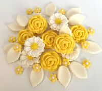 Lime//White Wedding Roses Bouquet Cake Decorations Sugar Flowers Cupcake Toppers