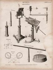 1817 GEORGIAN PRINT ~ OPTICS ~ HELIOSTATA APPARATUS EXPERIMENT