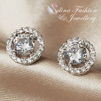 18K White Gold Plated Made With Swarovski Element Sparkling Halo Stud Earrings