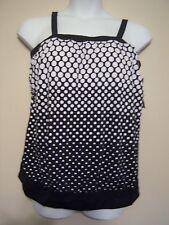 Maxine  NWT 26W 26  Black Dotted  OMBRE Tankini Swimsuit  2 pc Black Bottom 4X