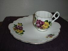 ROSINA QUEENS RED & YELLOW ROSES SNACK PLATE SET
