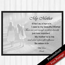 Mothers Gift Personalised. Birthday Mothers Day. Mum Keepsake Gift PRINT ONLY