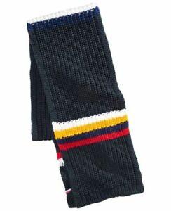 Tommy Hilfiger Men's Chunky Knit Stripes Scarf Navy Combo One Size