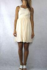 WHITE SUEDE By Jacqui Demkiw Beige Silk Chiffon Dress Size 6