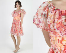 Vintage 70s Bright Floral Chiffon Boho Cocktail Party Full Skirt Mini Dress M