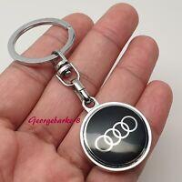 Audi chrome metal Key Ring Holder Ring Chain Fob For Audi  A3 A4 A5 Q3 Q5 Sline