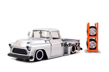 JADA 1:24 JUST TRUCKS 1955 CHEVY STEP SIDE PICK UP EXTRA WHEELS SILVER 97230 NEW