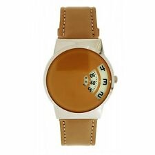 Softech Men's Beige PU Leather Strap Jump Hour Disc Time Display Watch