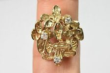 Handmade Asian Diamond Cocktail Nugget Ring 14k Solid Gold 0.30 tcw F-SI2 Size 8