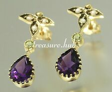 E152 Genuine 9K Gold Natural Amethyst,Peridot & Pearl Earrings Suffragette Studs