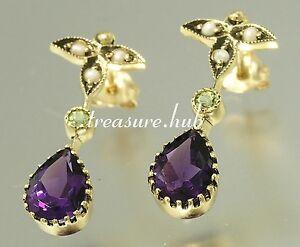 E152 Genuine 9K Gold Natural Amethyst,Peridot & Pearl Earrings Suffragette Studs