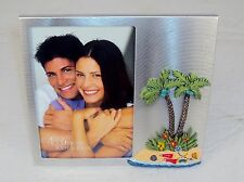 "4"" X 6"" Tropical Island Theme 3D Desktop Photo Frame ~ Brushed Metal ~ FR-730"