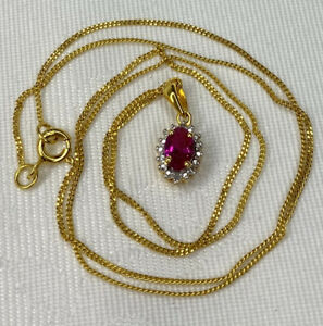 Exquisite, Solid Silver Ruby & Diamond Pendant & Chain Necklace ~ Gold Beauty 💎