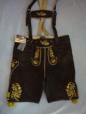 Trachten-Ziegenlederhose, kurz, Gr. 54/56, schwarzbraun, gelbe Stickerei