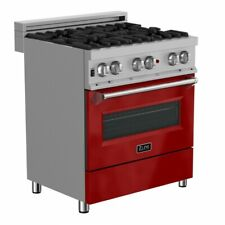 """Zline 30"""" Dual Fuel Range Oven Gas Electric Stainless Red Gloss Door Ras-Rg-30"""