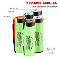 4x ncr18650b li-ion rechargeable battery 3400mah real capacity 3.7v for torch 1
