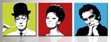 Set 3 quadri Totò Troisi Loren dipinto a mano su tela arredo casa pop art cinema