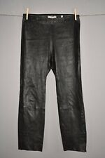 VINCE NEW $1050 Lambskin Leather Stretch Split Hem Crop Pant Medium