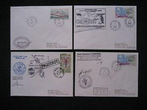 4 Briefe Polarpost Schiffspost TAAF Antarktis Schiffe Stationen Cachets P 33
