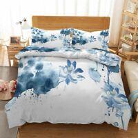 Blue Ink Petals 3D Printing Duvet Quilt Doona Covers Pillow Case Bedding Sets