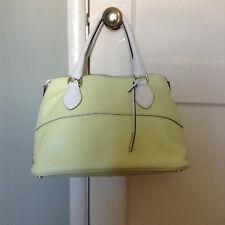 Abro Green/White Dome Style Pebbled Leather Medium Handbag