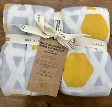 West Elm Standard Sham 100% Cotton NWT $39.99 White/gray/yellow