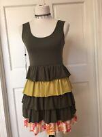 Matilda Jane Serendipity Xanadu Tank Tunic Ruffle Dress Small Olive Green Pink S