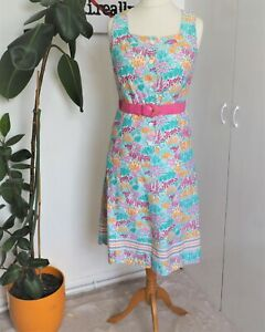 Vintage Early 80s White Cotton Floral Pattern Midi Sun Dress & Belt Size 10 - 12
