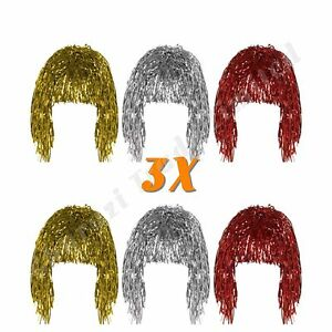 Set of 3 Gold Silver & Red Shiny Metallic Foil Adult Fancy Dress Tinsel Wigs