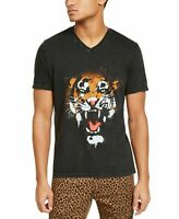 INC Mens T-Shirt Black Size 2XL Graffiti Tiger Graphic V-Neck Tee $29 #421