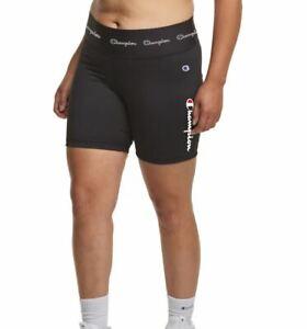 CHAMPION Double Dry high rise cotton women's bike shorts -Black -2X (Plus size)