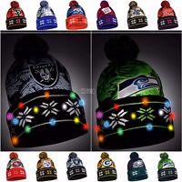 NFL/MLB Big Logo Light Up beanie Stocking Stretch Knit Hat-Pick your Team!