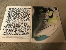 RARE 1990 NIKE AIR TECH CHALLENGE 3/4 Tennis Shoes Poster Print Ad ANDRE AGASSI