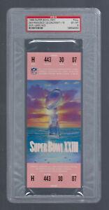 PSA EXMT 6 - VINTAGE 1988-1989 NFL SUPER BOWL XXIII FULL TICKET 49ERS - RICE MVP