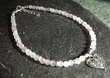 Rose Quartz Moonstone 4mm Gemstone Beads Heart Charm Anklet Gypsy Beach Anklet