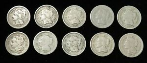 (10) 1865 -1874 UNITED STATES 3 CENT NICKEL 3c CIRCULATED COIN LOT