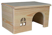 Flat Roof Pine Lodge Wooden House for Guinea Pigs, Degu & Small Rodents