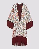 ZARA NEW KIMONO WITH FRINGE BOW WAIST FLORAL PRINT WHITE RED JACKET SIZE XS-XL
