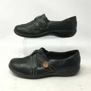 Clarks Slip On Loafers Comfort Shoes Womens 8.5W Button Pebbled Leather Black