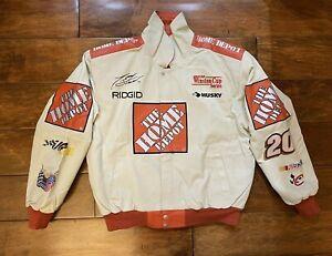 Tony Stewart #20 The Home Depot White Leather Jacket Men Size Medium NASCAR Rare