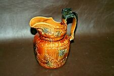 """Vintage Wood & Sons Fine English 8"""" Glazed Brown Pottery Pitcher w/ Horse Handle"""